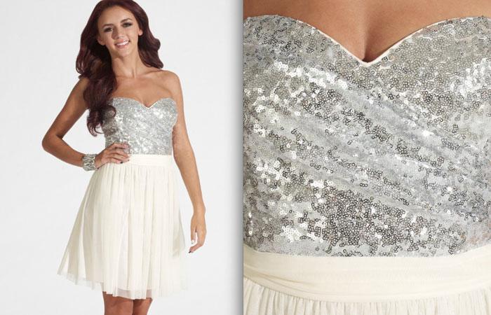 Bela haljina sa šljokicama