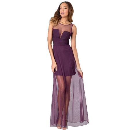 viseslojna ljubicasta haljina