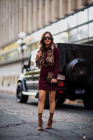 Jesenje modne kombinacije sa Bordo haljinama